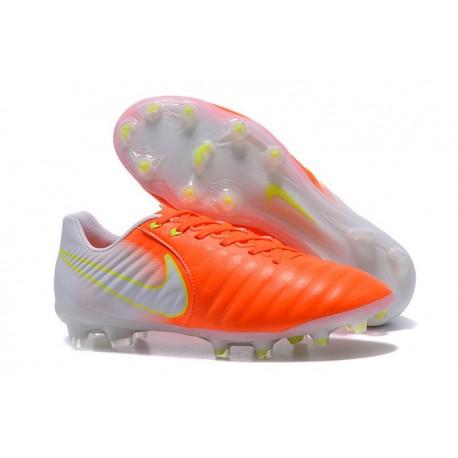 Chaussures de Football 2017 Nike Tiempo Legend VII FG ACC Orange Blanc