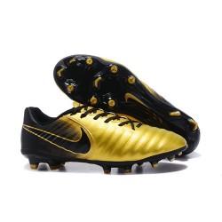 Nike Cuir Crampons Foot Tiempo Legend 7 FG Homme - Or Noir