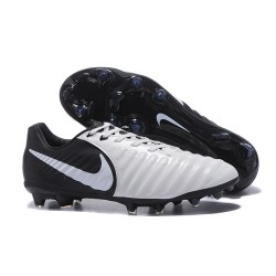 Nike Cuir Crampons Foot Tiempo Legend 7 FG Homme - Blanc Noir