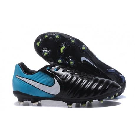 Nike Cuir Crampons Foot Tiempo Legend 7 FG Homme - Noir Bleu