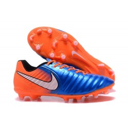 Nike Cuir Crampons Foot Tiempo Legend 7 FG Homme - Bleu Orange