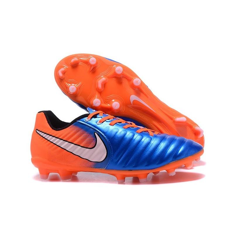 new product b6b43 3d558 Nike Cuir Crampons Foot Tiempo Legend 7 FG Homme - Bleu Orange Zoom.  Précédent · Suivant