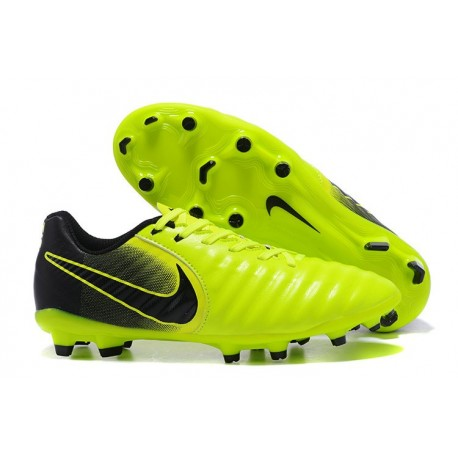 Nike Cuir Crampons Foot Tiempo Legend 7 FG Homme - Vert Noir