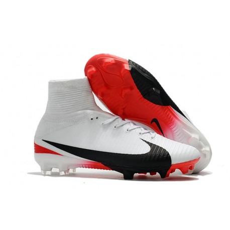 Chaussure de Foot Neuf Nike Mercurial Superfly 5 FG Blanc Rouge Noir