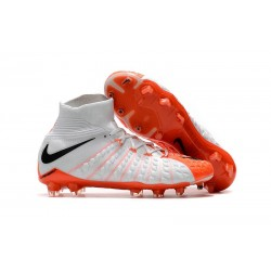 Nike Chaussures Hypervenom Phantom 3 DF FG Flyknit - Blanc Orange