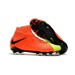 Nike Chaussures Hypervenom Phantom 3 DF FG Flyknit - Orange Jaune