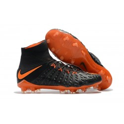 Nike Chaussures Hypervenom Phantom 3 DF FG Flyknit - Noir Orange