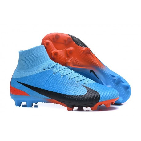 Nike Mercurial Superfly V FG ACC Crampons Football - Bleu Noir Rouge
