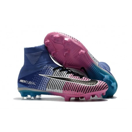 Nike Mercurial Superfly V FG ACC Crampons Football - Bleu Rose Noir