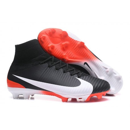Nike Mercurial Superfly V FG ACC Crampons Football - Noir Blanc Rouge