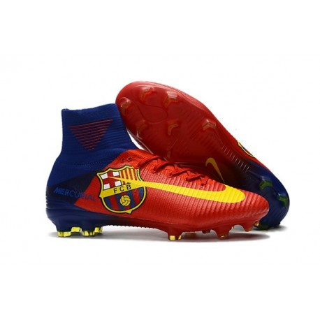 Chaussure de Foot Nike Mercurial Superfly 5 DF FG - Barcelona Rouge Jaune