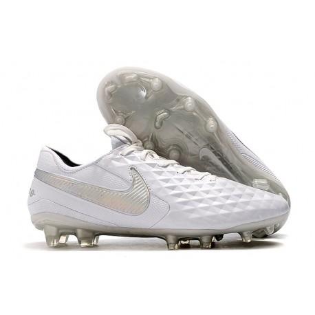 Chaussures Nike Tiempo Legend VIII Elite FG Blanc Platine