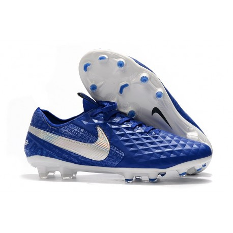 Chaussures Nike Tiempo Legend VIII Elite FG Bleu Royal Blanc
