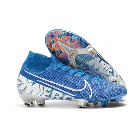 Nike Mercurial Superfly VII Elite DF FG Bleu Blanc