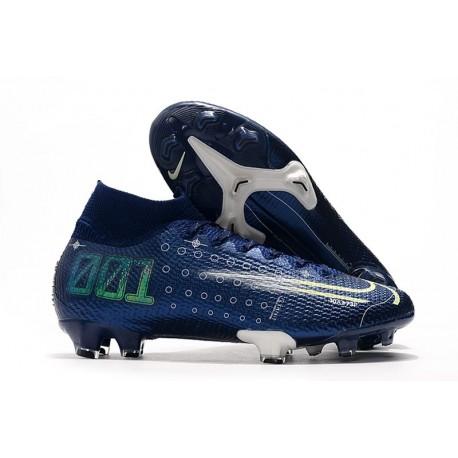 Nike Mercurial Superfly VII Elite DF FG Bleu Néant Volt Blanc