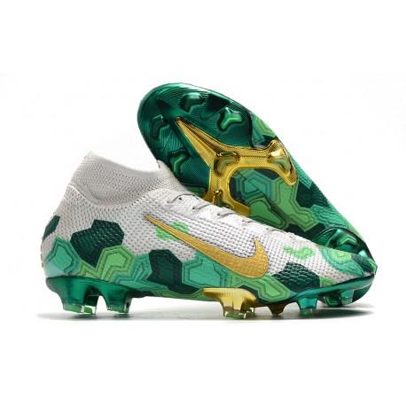 Crampons Nike Mercurial Superfly 7 Elite FG Mbappe Blanc Vert Or