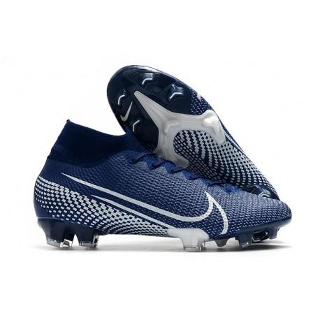 Crampons Nike Mercurial Superfly 7 Elite FG Bleu Blanc