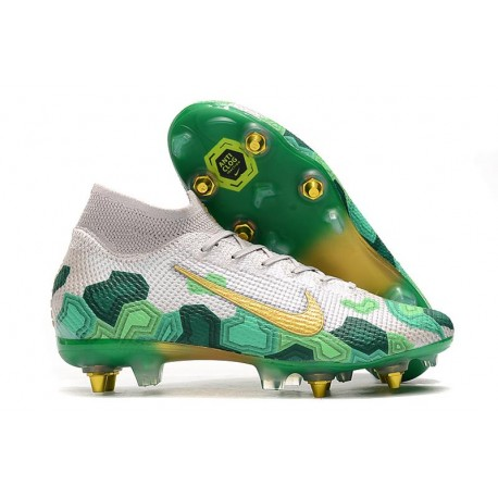 Nike Mercurial Superfly VII Elite SG-Pro Mbappe Gris Or Verde