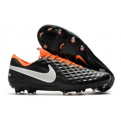 Chaussures Nike Tiempo Legend VIII Elite FG Noir Blanc Orange