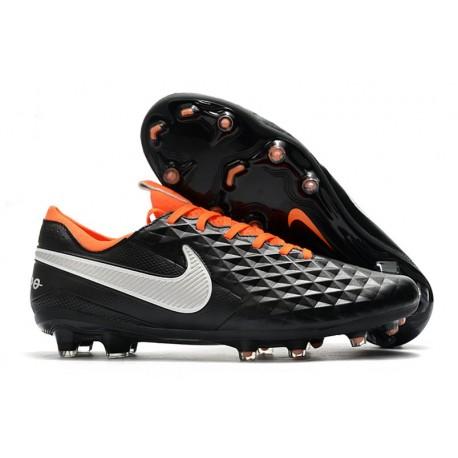 Chaussures Nike Tiempo Legend VIII Elite FG Noir Blanc Orange