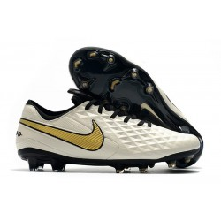 Chaussures Nike Tiempo Legend VIII Elite FG Blanc Or Noir