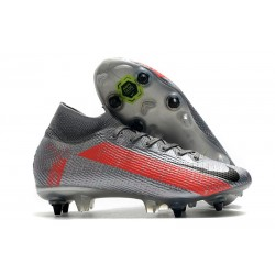 Nike Mercurial Superfly 7 Elite SG-Pro Anti-Clog Gris Noir Rouge