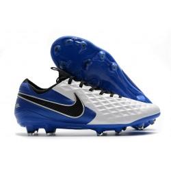Nike Tiempo Legend 8 Elite FG Crampon Foot - Blanc Bleu Noir