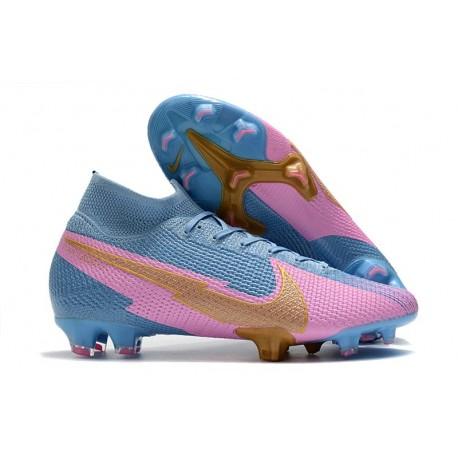 Nike Mercurial Superfly 7 Elite DF FG Bleu Rose Or