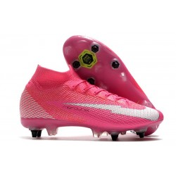 Nike Mercurial Superfly 7 Elite SG-Pro Anti-Clog x Mbappe Rose Blanc Noir