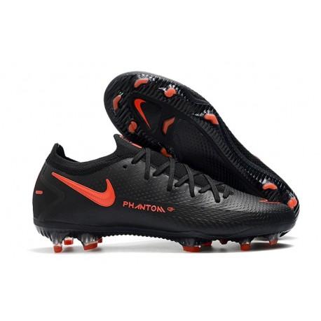 Nike Crampons de Foot Phantom GT Elite FG Noir Rouge Chili Gris Fumee
