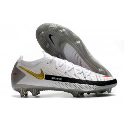 Nike Crampons de Foot Phantom GT Elite FG Blanc Noir Or Rouge