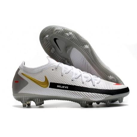 Nike Crampons de Foot Phantom GT Elite FG Blanc Noir Or Rouge