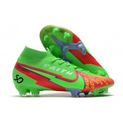 Crampons Nike Mercurial Superfly VII Elite DF FG Faith Vert Rouge