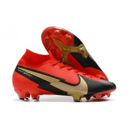 Crampons Nike Mercurial Superfly VII Elite DF FG Rouge Noir Or
