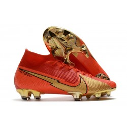 Crampons Nike Mercurial Superfly VII Elite DF FG CR100 Rouge Or