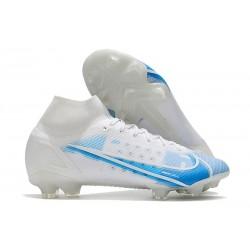 Nike Neuf Mercurial Superfly 8 Elite FG Blanc Bleu